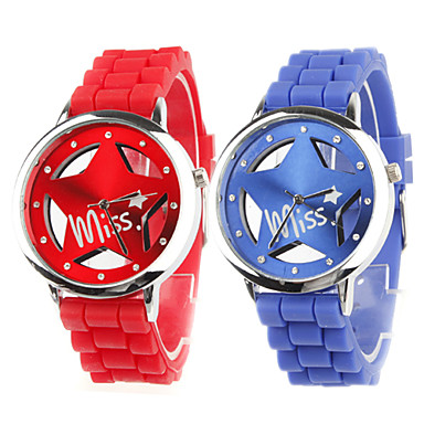 Couple's Quartz Analog Hollow Star Style Dial Silicone Band Wrist Watches (Blue & Red)