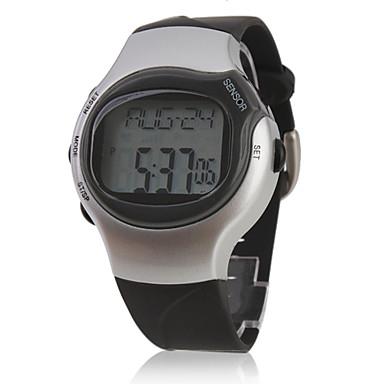 Heren Sporthorloge Digitaal Alarm Kalender Chronograaf Hartslagmeter LCD Band Zwart