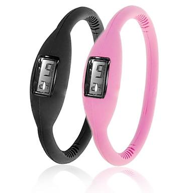 paire de montres de mode unisexe ions de silicone de gelée sport poignet automatique - noir et rose