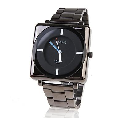 Elegante y Original Reloj Pulsera de Hombre, Con Caja Cuadrada y Correa de Acero Inoxidable - Negro