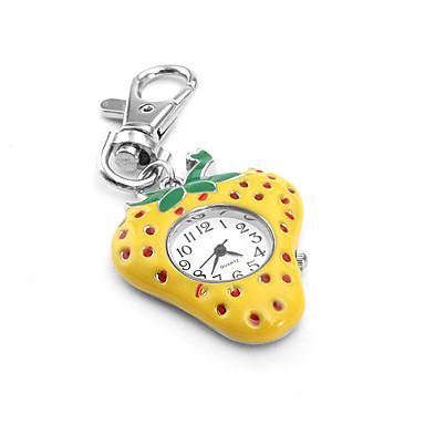 Fashionable Women's Strawberry PC Quartz Keychain Watch (Yellow)