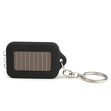 Solar Powered  White Light 3-LED Keychain Flashlight (Black)
