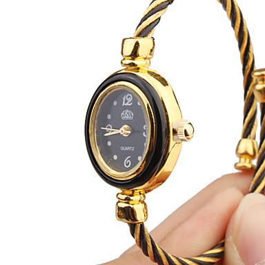 Women's Quartz Analog Black & Gold Wire Steel Band Bracelet Watch Cool Watches Unique Watches