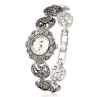 Women's Ladies Bracelet Watch Japanese Quartz Casual Watch Alloy Band Analog Flower Fashion Elegant Silver - Silver One Year Battery Life / SSUO SR626SW