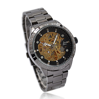 Steel Band Automatic Mechanical Wrist Watch For Men Cool Watch Unique Watch