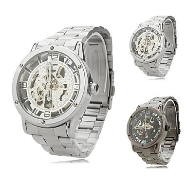 男性用 自動巻き 機械式時計 スケルトン腕時計 透かし加工 カジュアルウォッチ ステンレス バンド チャーム ブラック
