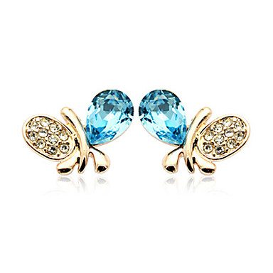 exquisita de cristal con incrustaciones de mariposas zarcillos