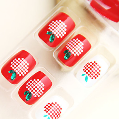 Lovely Apple Style Nail Art Tips With Glue (24pcs)
