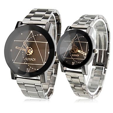 par av parets analoge aluminiumsfelger stil kvarts håndleddet klokker (sølv)