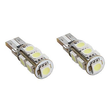T10 1.5W 9x5050 SMD White Light LED Bulb CANBUS for Car Signal Lamps (2-Pack, DC 12V)