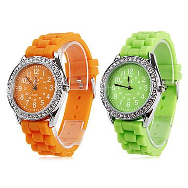 Mulheres Relógio Esportivo Quartzo Banda Doce Preta Branco Azul Laranja Verde Rosa Roxa