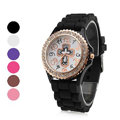 femmes de style croix de silicone analogique montre-bracelet à quartz (couleurs assorties)