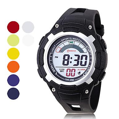 mäns kronograf och vattenavvisande pu digitala maskiner för automatisk tillfälliga klockor (blandade färger)