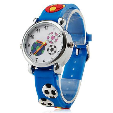 de silicone enfants de style de football a conduit montre à affichage analogique-bracelet à quartz (bleu)