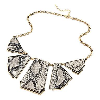 Luxusní serpentinite polygon retro náhrdelník