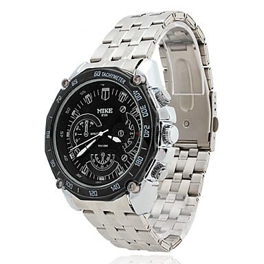 Men's Water-Resistant Black Dial Silver Alloy Band Quartz Analog Chronograph Wrist Watch Cool Watch Unique Watch