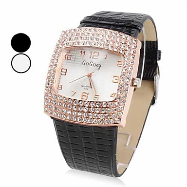 Women's Fashion Watch Quartz Casual Watch PU Band Sparkle Black White