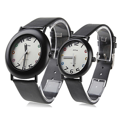 Couple Style Unisex PU Analog Quartz Wrist Watch (Black)