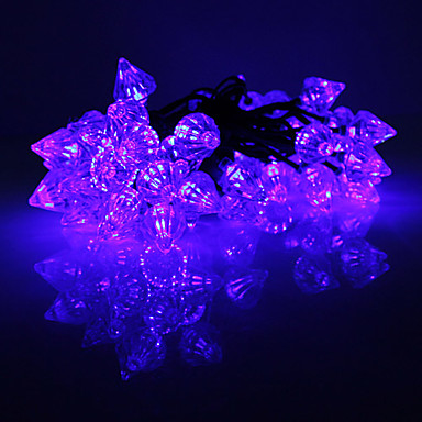zonne-energie 2-modus paars licht diamantvormige LED String fee lamp