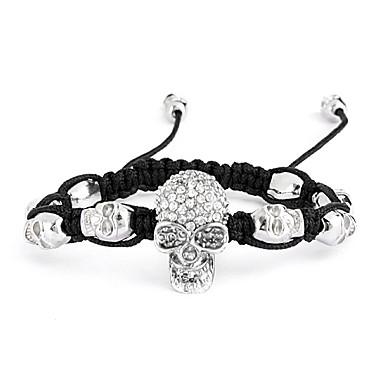 Fashion Skull Alloy Woven Bracelet with Rhinestone