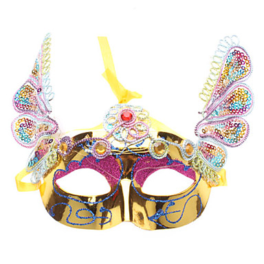 Venetian Sequin Half Mask with LED Flashing Light for Masquerade Party (Random Color)