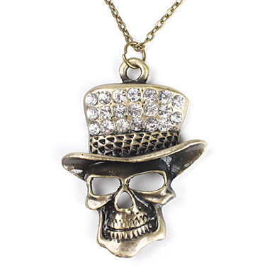 Skull with Shining Hat Copper Necklace