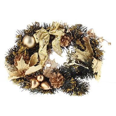 Corona de oro con lentejuelas brillante con bolas, renos piñones y bowknot
