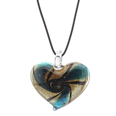Vortex Heart-shaped Coloured Glaze Colar pulseira de couro