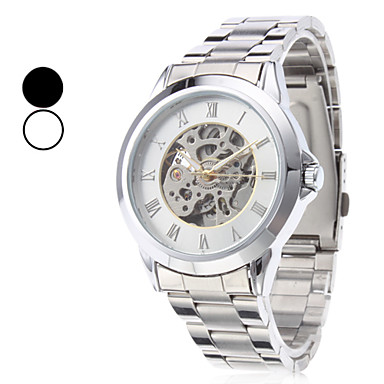 Men's Steel Analog Mechanical Wrist Watch (Silver) Cool Watch Unique Watch