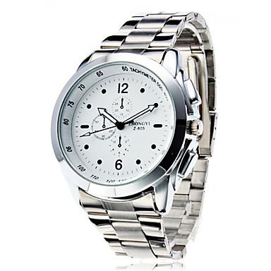 זול שעוני גברים-בגדי ריקוד גברים שעוני שמלה שעון יד פלדת אל חלד קווארץ כסף שעונים יום יומיים אנלוגי קלסי אופנתי - לבן שחור
