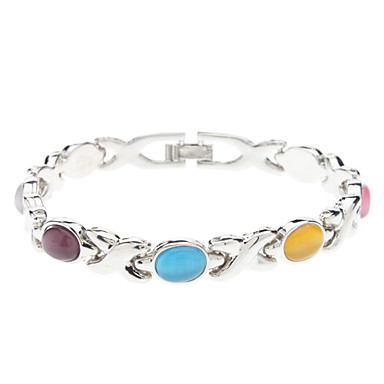 X Pattern Metal Colorful Opal Bracelet