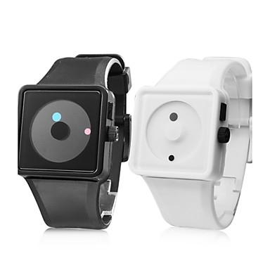 Par de Relojes Pulsera de Silicona de Moda (Negro y Blanco)