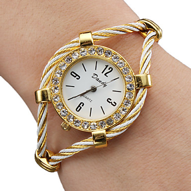 Women's Bracelet Watch Fashion Watch Quartz Alloy Band Sparkle Bangle Gold