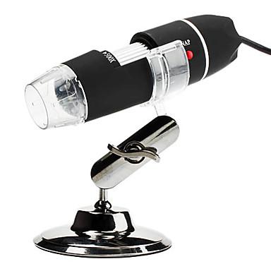 Portable USB 2.0 ja 1.1 50x / 500x 2 megapikselin digitaalinen mikroskooppi suurennuslasi 8-LED-valaistus (musta)