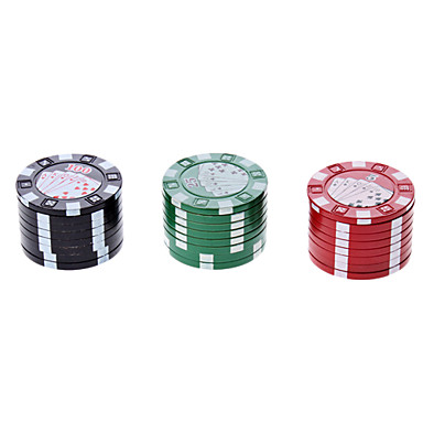 Casino Chips Shape 2-Layer Herb Cigarette Tobacco Grinder (Assorted Colors)