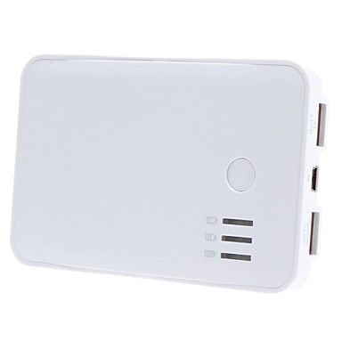 Universal 5000mAh Mobile External Power Battery Charger for iPad, iPhone and Others (White)