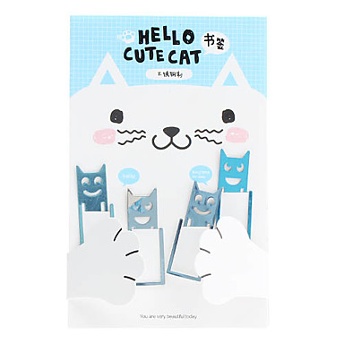 Cute Cat Stainless Steel Bookmarks (4-Pack)