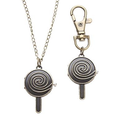 Unisex Lollipop Stil Legierung Analog Quarz Schlüsselbund Halskette Uhr (Bronze)