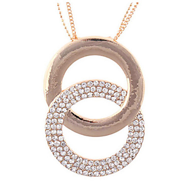 Women's Copper and Steel Chain Necklace with Rhinestone Rings Pendant