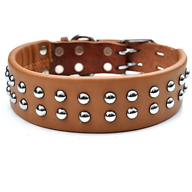 Adjustable Two Row Metal Rivet Style Genuine Leather Dog Collar (50-61cm/19.6-24inch)
