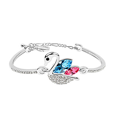Cute Crystal Studded Swan Platinum Plated Bracelace