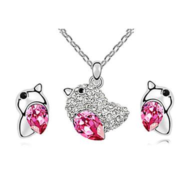 Dejlig Rhinestone Chick med Crystal Egg Platinum belagte smykker Set