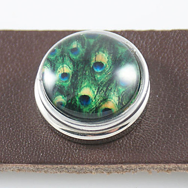 Silver Plated Peacock Feathers Pattern Glass DIY Button Bead