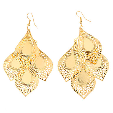 Drop Shape Hollow Out Gold Plated Earrings
