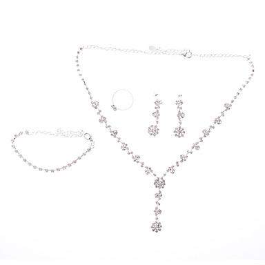 Simple Type Silver Plated Fully-Jewelled Necklace Earring Ring and Bracelet Jewelry Set