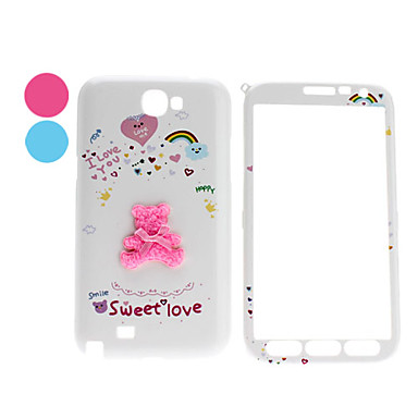 Back of Bear Pattern Front and Back Full Body Case for Samsung Galaxy Note 2 N7100 (Assorted Colors)