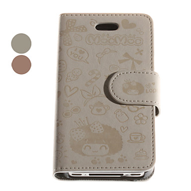 Carton Pattern Premium PU Leather Case for iPhone 4S(Assorted Colors)