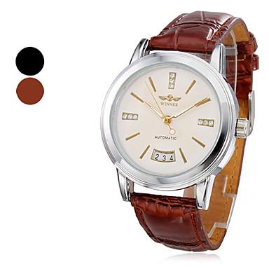Männer Kalender Stil analoge mechanische PU-Armbanduhr (farbig sortiert)