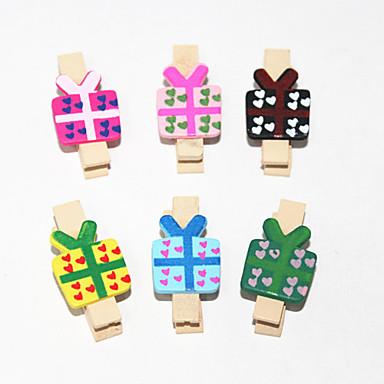 Cute Wooden Gift Pattern Clip 6PCS