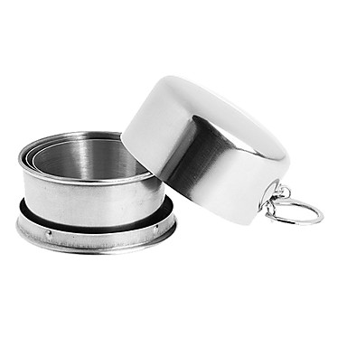 Portable Retractable Stainless Steel Cup Keychain for Travel and Hiking (140mL)